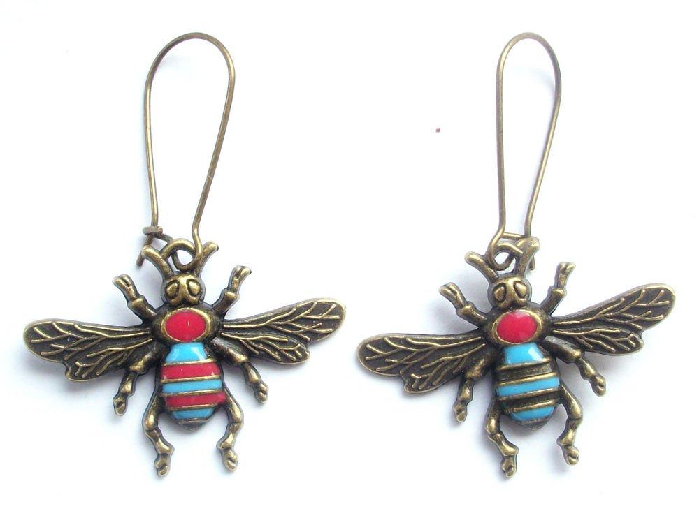 Bumble Bee Earrings Bronze Tone Enamelled Metal