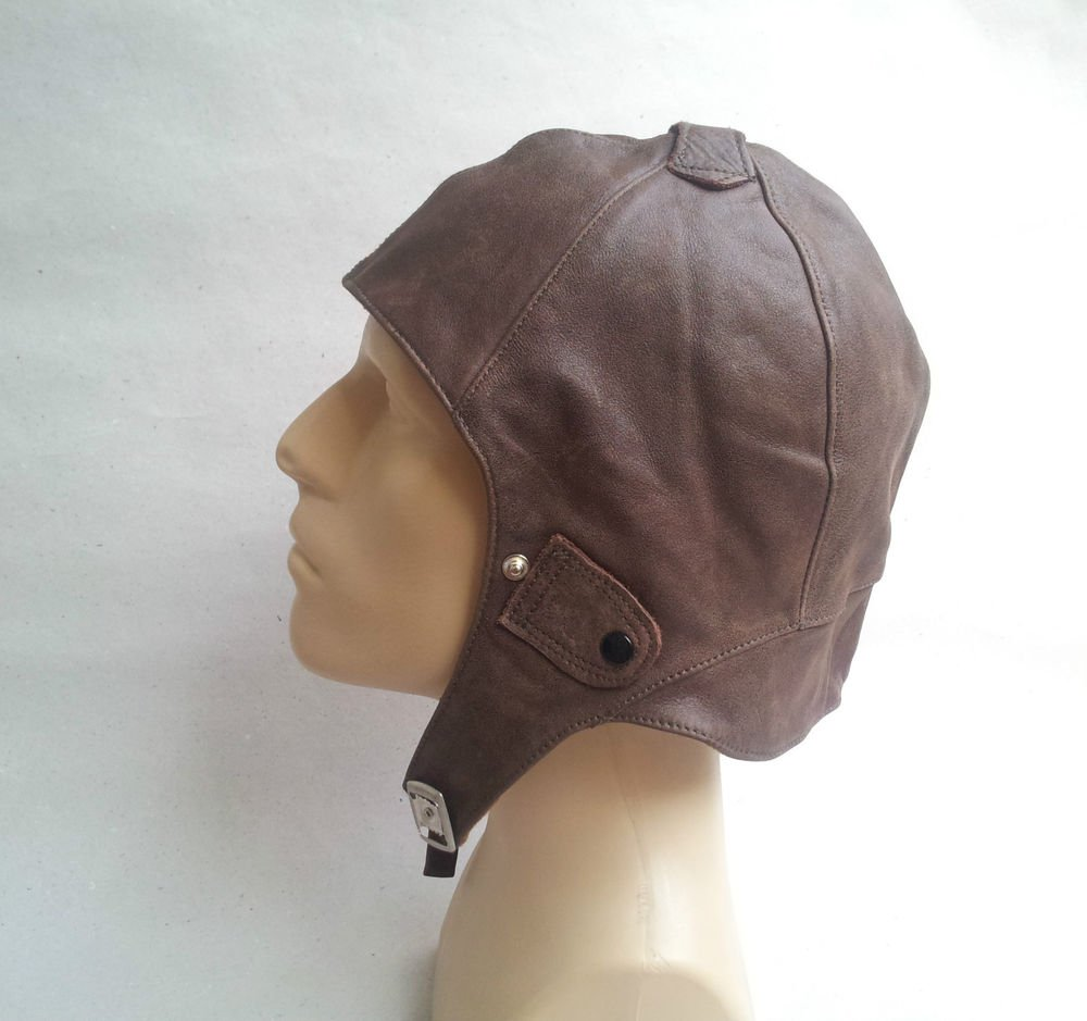 � MILITARY PILOT BROWN LEATHER HELMET- HAT- MOTORCYCLE  STEAMPUNK  BIKE SCOOTER