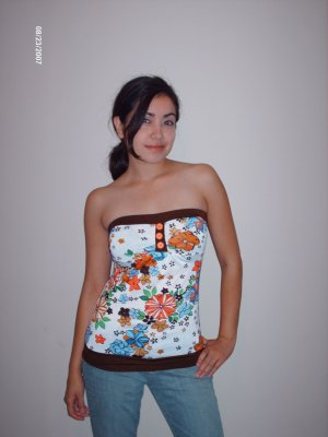 Flower Tube Top w/ Buttons - Medium