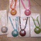 Large Pendant Necklace & Earring Set - Bronze