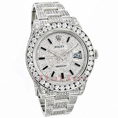 ROLEX DATEJUST MENS CUSTOM DIAMOND WATCH 25.20CT ICED OUT