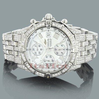 CUSTOM BREITLING WATCHES: CROSSWIND MENS DIAMOND WATCH 12.09CT