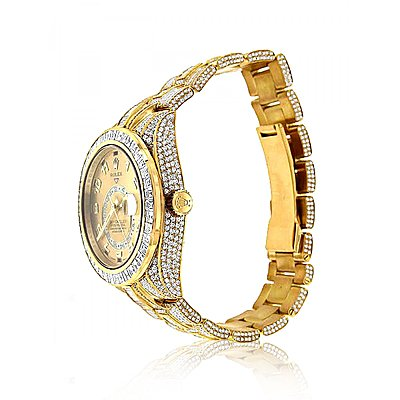 FULLY ICED OUT 18K YELLOW GOLD DIAMOND SKY DWELLER ROLEX WATCH FOR MEN 45CT