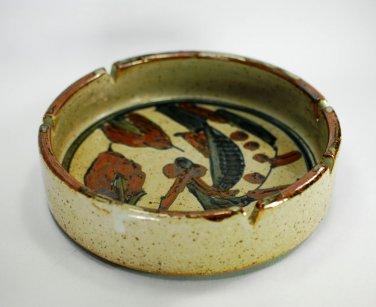 Ashtray Art Pottery Salt Glaze Handmade Vintage 1970s Speckle FAB  Mid Century