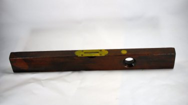 "FAB Carpenters Level  21"" Brass Wood Standard Rule Tool Antique Vintage USA"