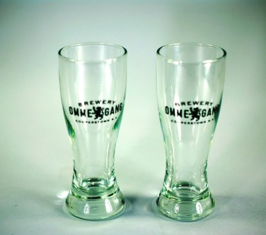 Omme Gang Shot Small Glasses (2) Cooperstown NY Brewery Beer FAB