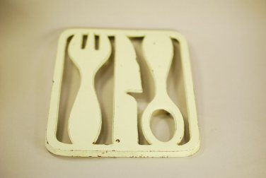 Knobler Cast Iron Enamel Trivet Knife Beige Fork Spoon Vintage Mid Mod Retro FAB