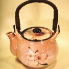 Tea Pot Pink Rattan Handle1970 Japan FAB Flower Hand Painted Flower Ceramic Mint