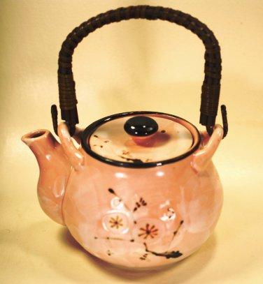 Tea Pot Pink Rattan Handle1970 Japan FAB Flower Hand Painted Flower Ceramic Mint