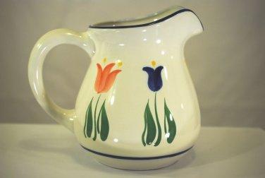 Dansk Tulip Flower Pitcher Jug White Blue Pink Porcelain FAB DANTUL