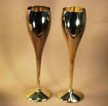 Kirk Stieff  Silver Plate Wine Champagne Flute Silver Plate Spain Shabby FAB