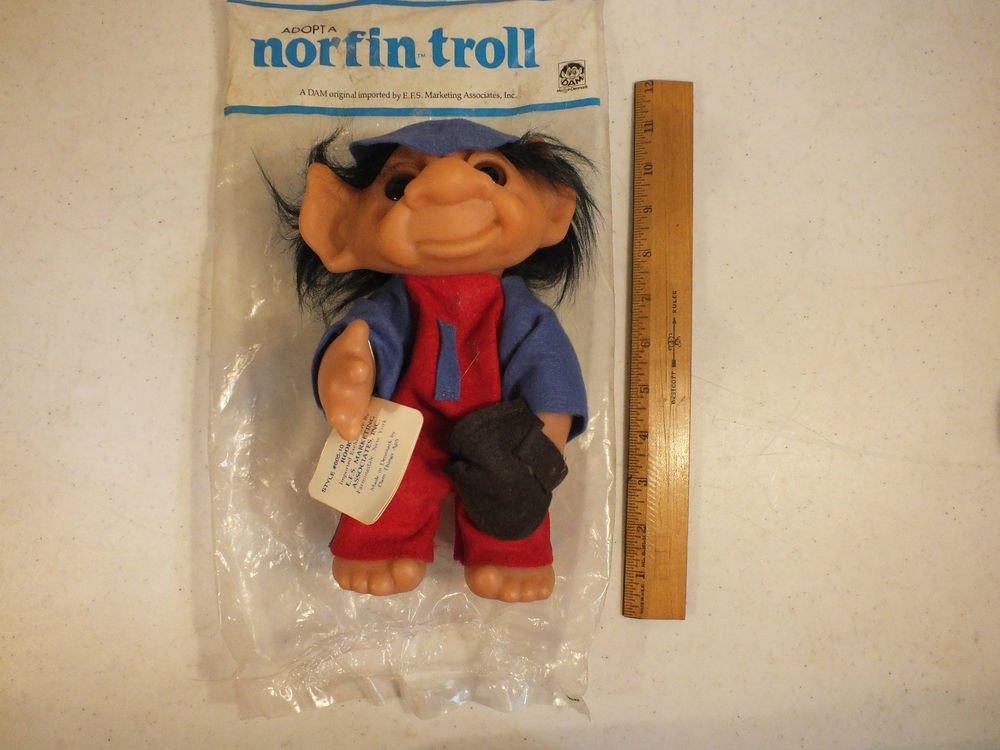 """Vintage 1977 Thomas Dam Norfin Troll Doll 11"""" Tall Rookie Black Hair"""