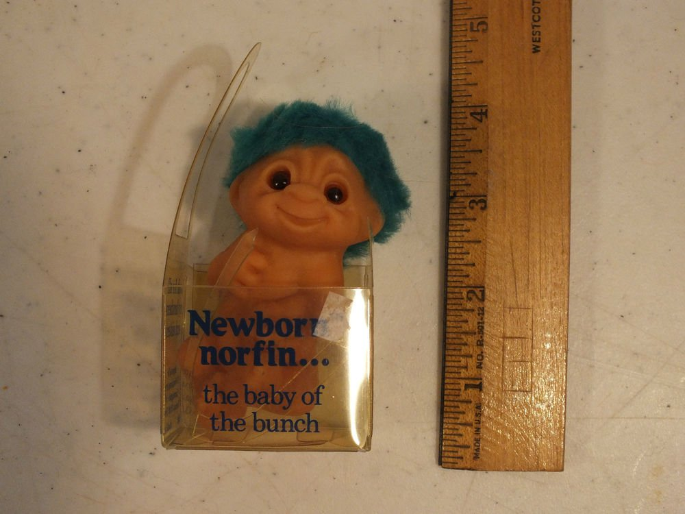 "NEWBORN  BABY IN PACKAGE  - 3"" Dam Norfin Troll - GREEN HAIR"