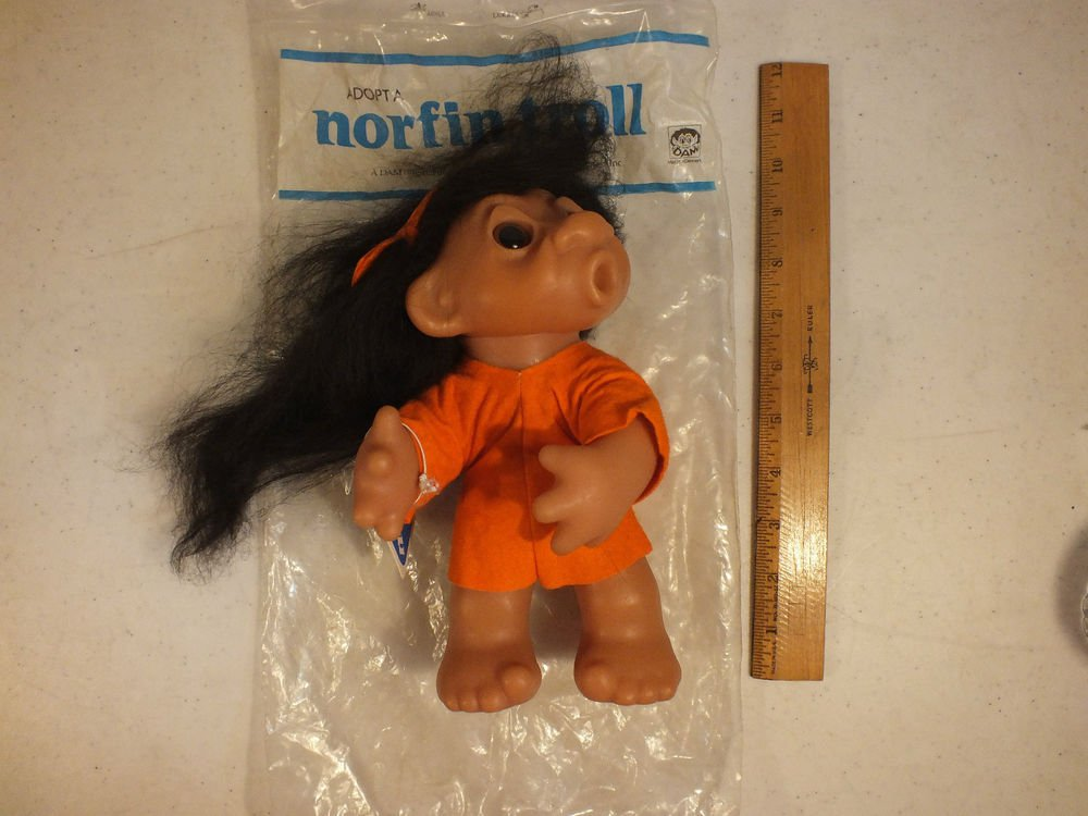 """DAM NORFIN TROLL DOLL HEATHER WITH TAG STYLE 6046 BLACK HAIR 11"""" 1977"""