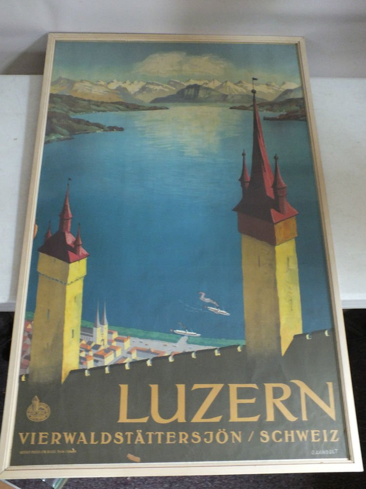 Vintage Original Luzerne Lake Travel Poster Lucern Switzerland