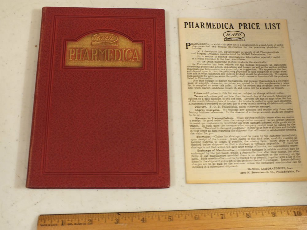 McNeil Pharmedica Price List Book Early 1900s