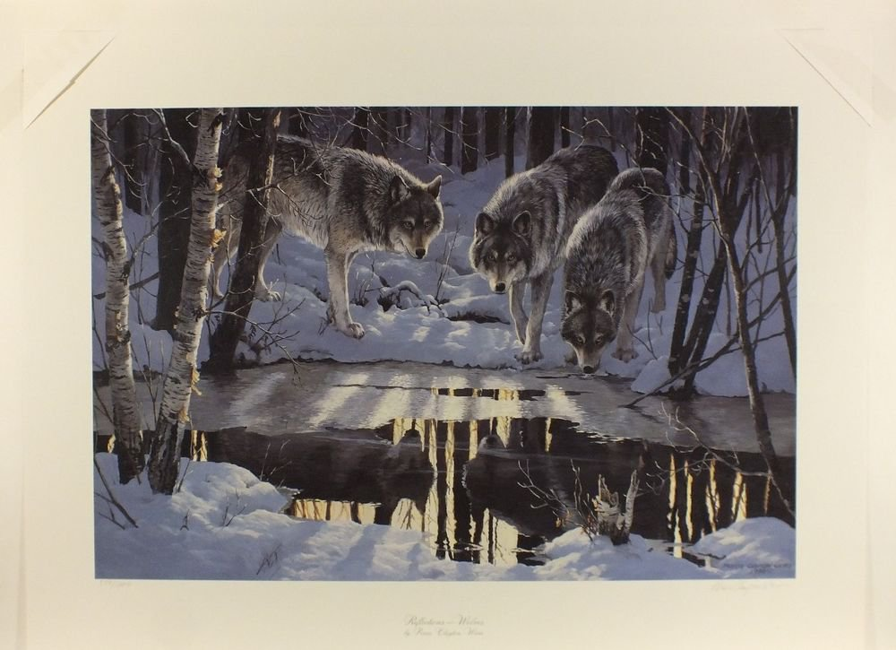 Persis Clayton Weirs REFLECTIONS WOLVES WOLF Print S/N Lithograph Animals