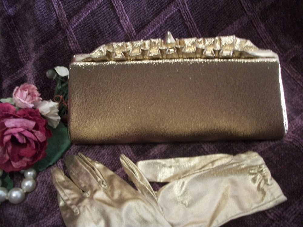Sparkly Gold Evening Bag and Gold Lame Gloves Set Vintage 1960's Accessories
