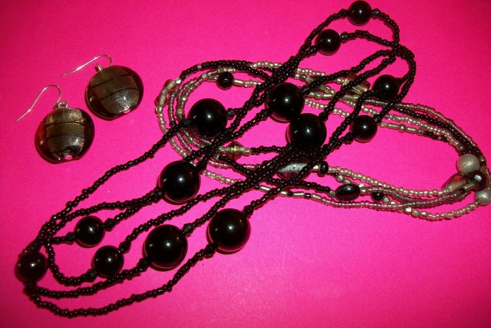 Necklace and Earrings Set Black Silver Metallic Handcrafted Beaded Jewelry