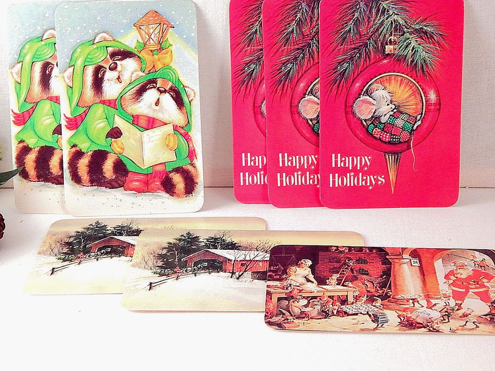 Christmas Postcards Unposted Vintage Stationery New Old Stock Paper Craft Supply