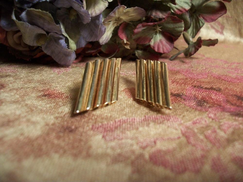 Gold Tone Metal Flute Earrngs Geometric VTG 1980's Fashion Jewelry Accessory