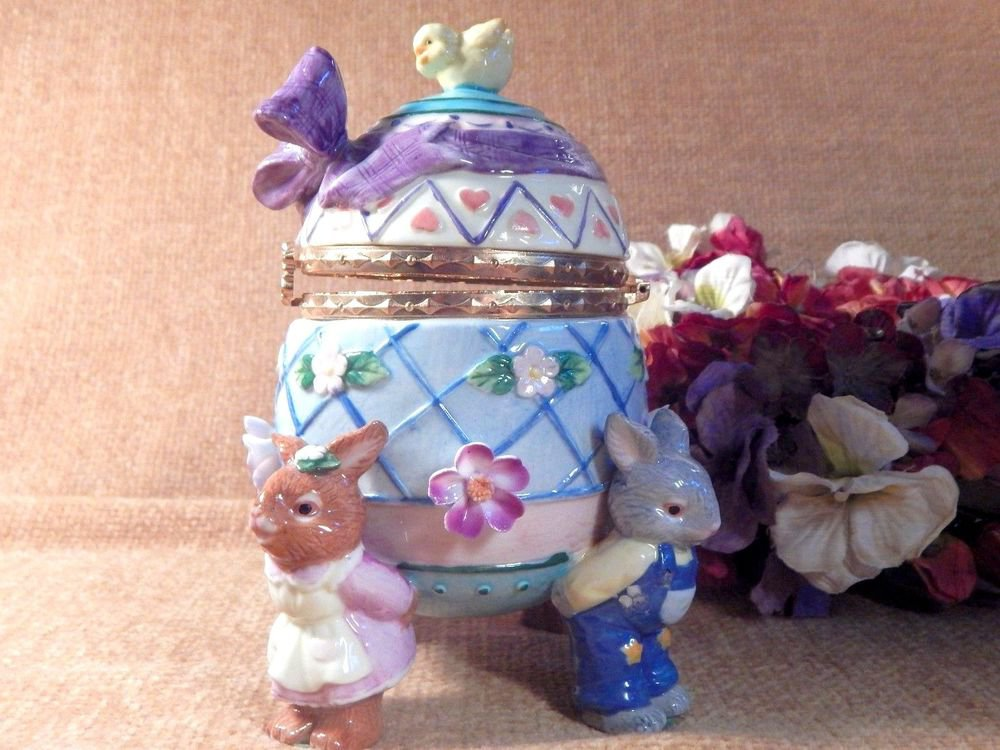 Ceramic Egg Jewelry Trinket Box Bunny Rabbits Chick and Flowers Home Decor