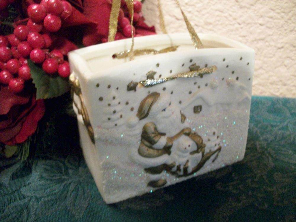 White and Gold Ceramic Gift Bag Christmas Decoration Santa Claus Snow Scene