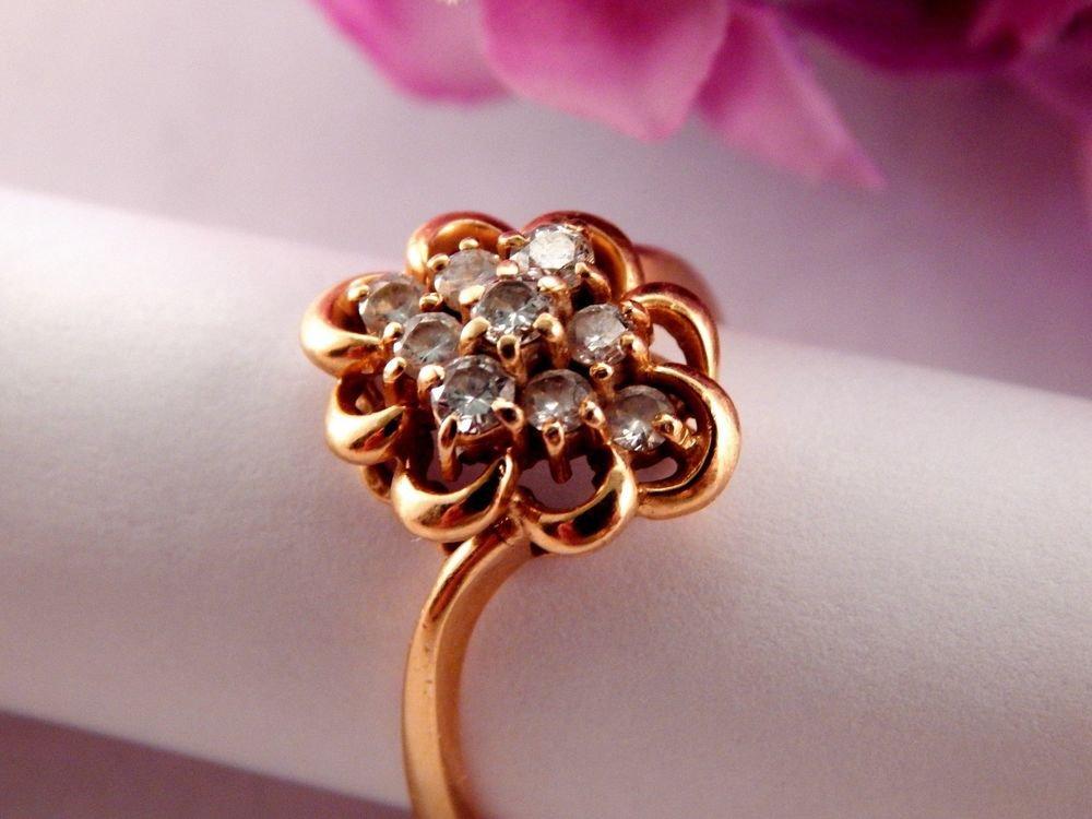 Diamond Cocktail Ring 1/2 cttw 14kyg Fine Jewelry Vintage 1980s Estate Quality