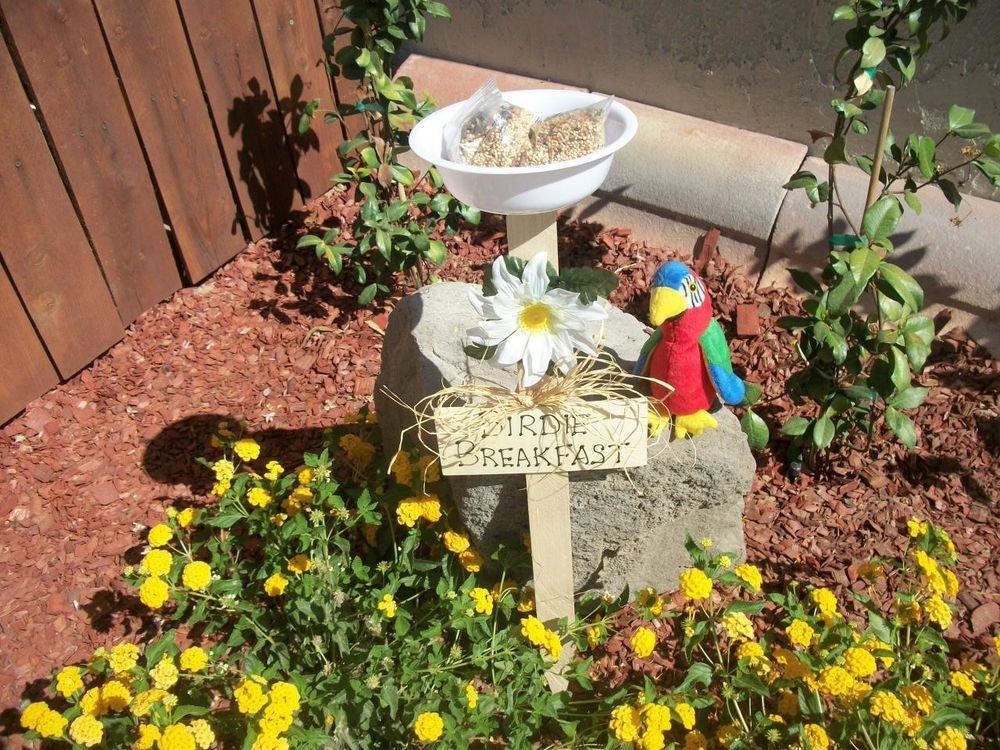Birdie Breakfast Sign Bird Feeder New Handmade White Dish and Flower Yard Art