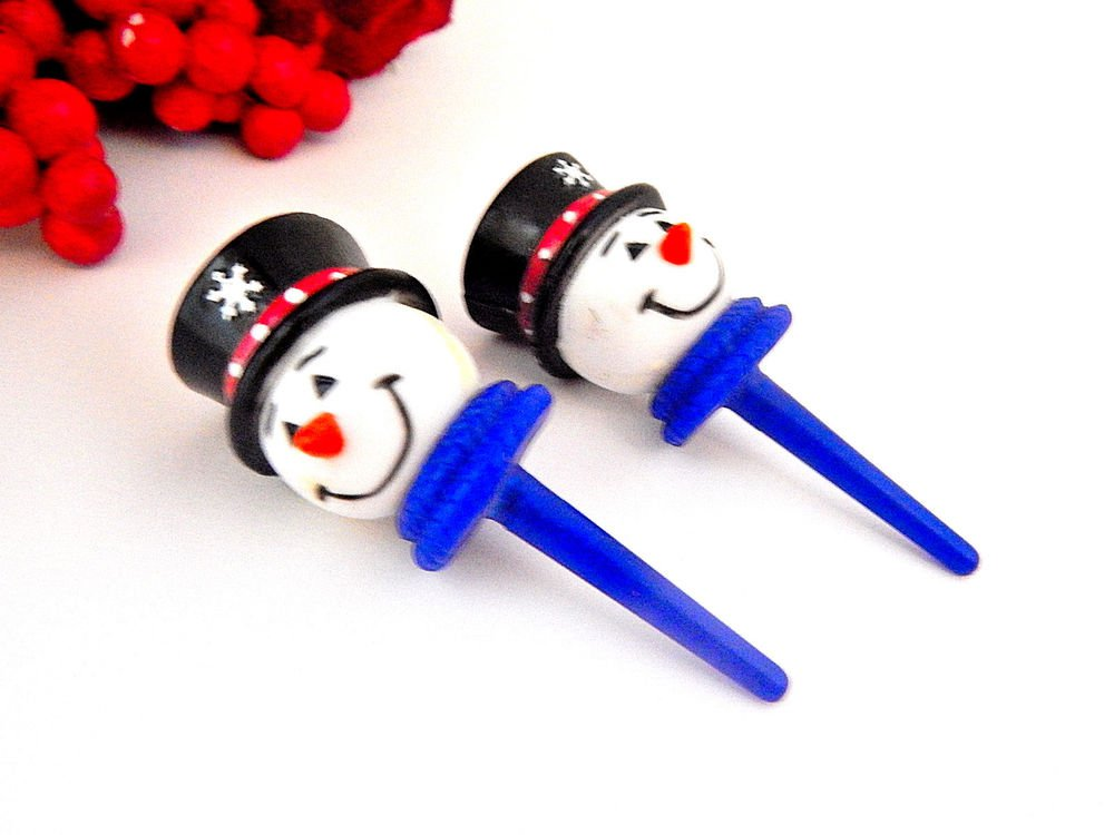 Snowman Picks Vintage Celluloid Cake Cupcake Topper Christmas Baking Party Craft