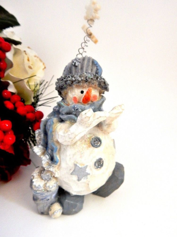 Snowman Figurine Rustic Wood Style Resin Silver Blue and White Christmas Decor