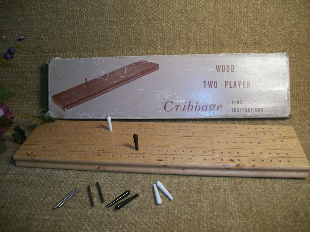 Cribbage Game Vintage 1950's Wood Two Player Board Pegs Instructions Box