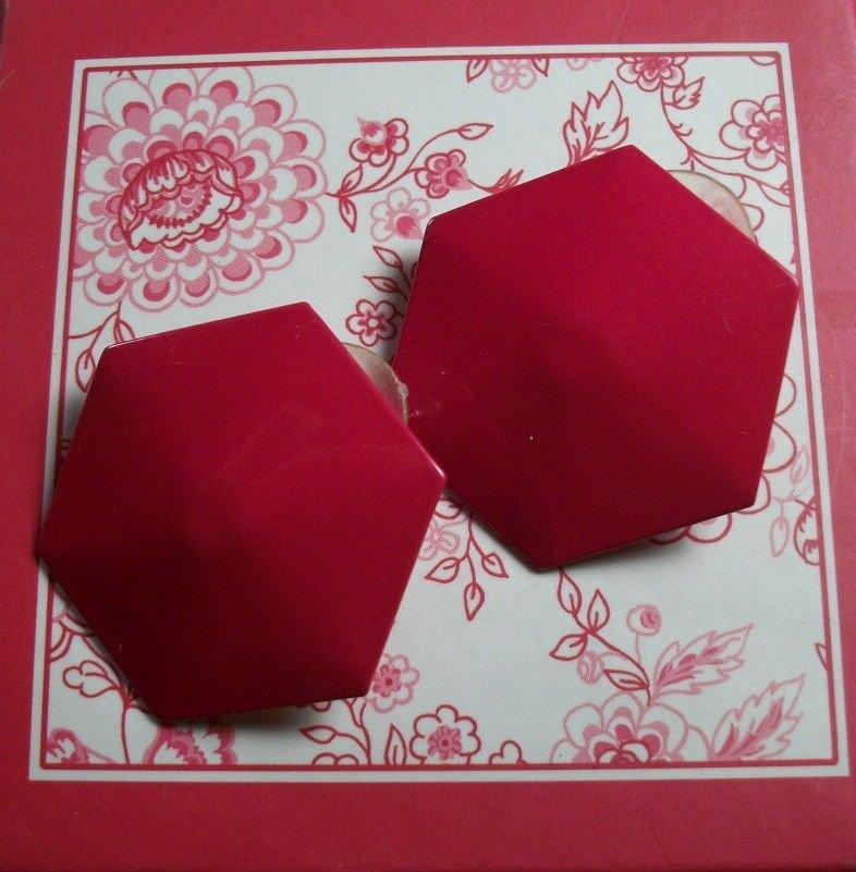 Earrings Shiny Red Geometric Hexagon Enamel Vintage Fashion Costume Jewelry
