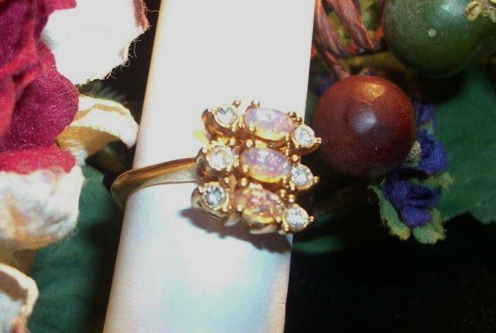 Avon Ring Pink Opal Rhinestone Size 7 1/2 VTG Signed Jewelry October Birthstone