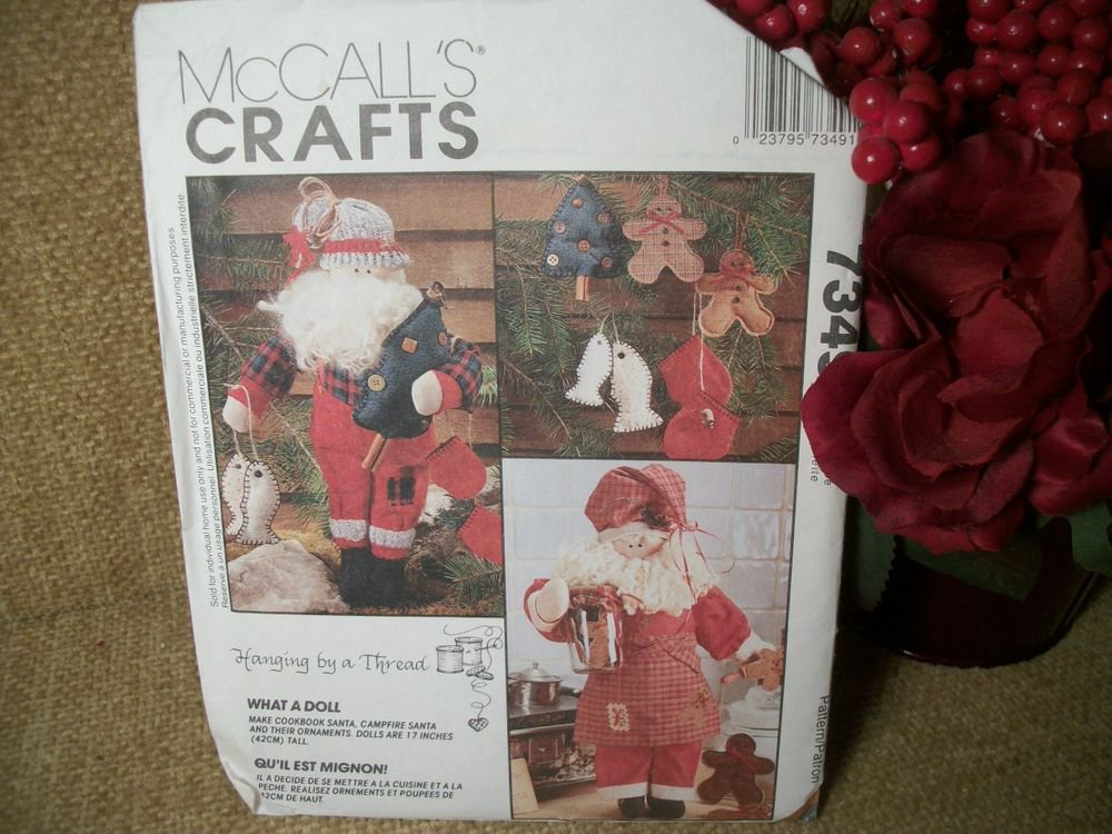 Santa Claus Fisherman and Baker Doll McCall's Crafts Christmas Sewing Pattern