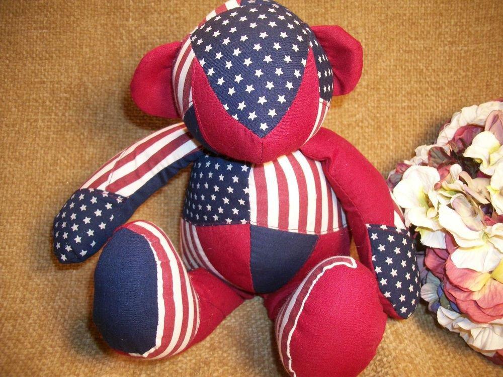 Terry's Village Bear Stuffed Animal Fiber Fill  Americana Bear Red White Blue