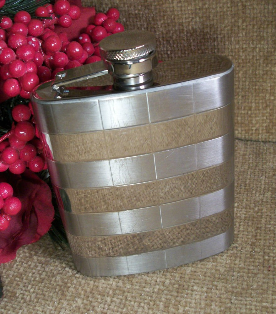 Stainless Steel Flask Eight Ounce Hinged Screw Top Portable Barware