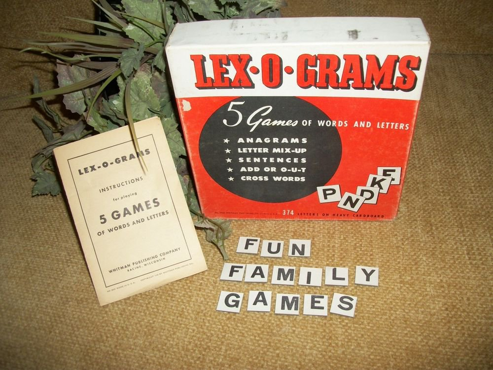 Lex-O-Gram Word Game Antique Retro Letter Tiles 5 Variations 2 - 6 Players