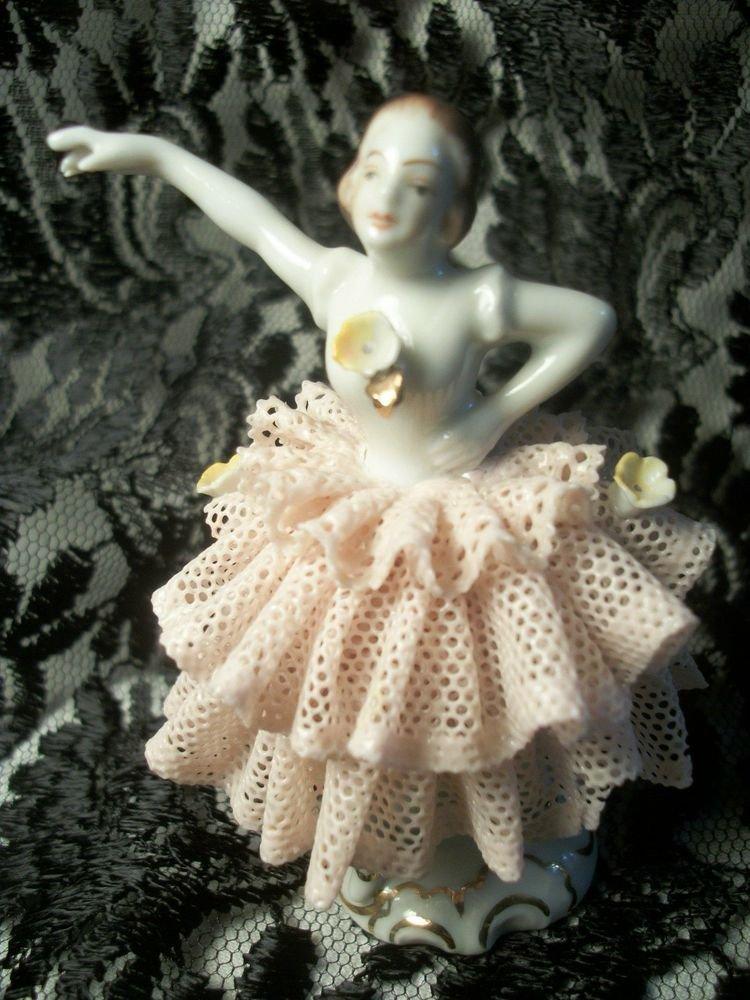 Antique Porcelain Dresden Figurine Woman Ballerina Dancer Pink Lace Dress