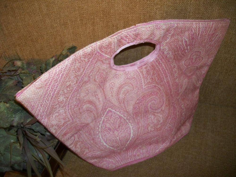Vintage MOD Pink Paisley VICTORIA'S SECRET Double Handle HANDBAG Purse Tote