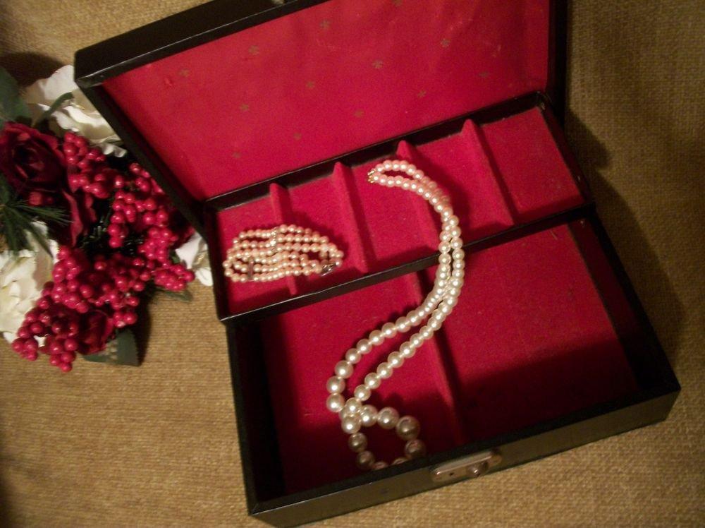 Jewelry Box VTG Wood Black Vinyl Red Lining Storage Chest Dresser Top 1960's