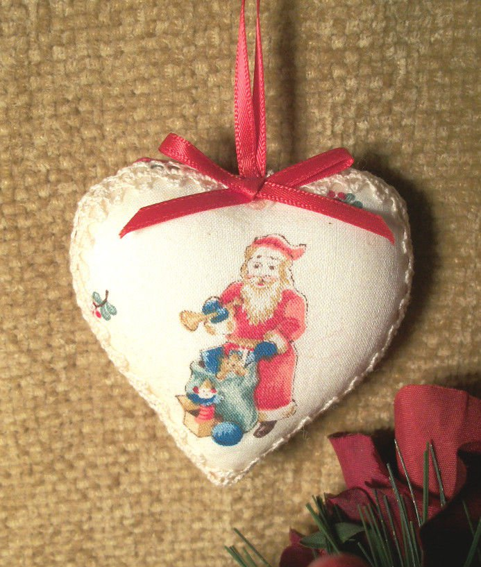 Old World Santa Claus Fabric Heart Christmas Tree Ornament Red White Ribbon Lace