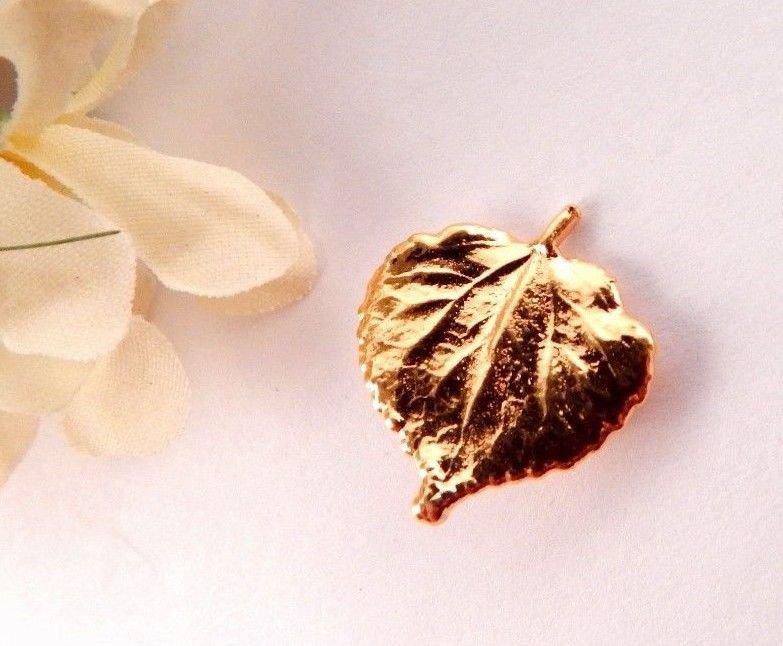 Fall Leaf Brooch Small Gold Metal Pin Artisan Vintage Fashion Jewelry