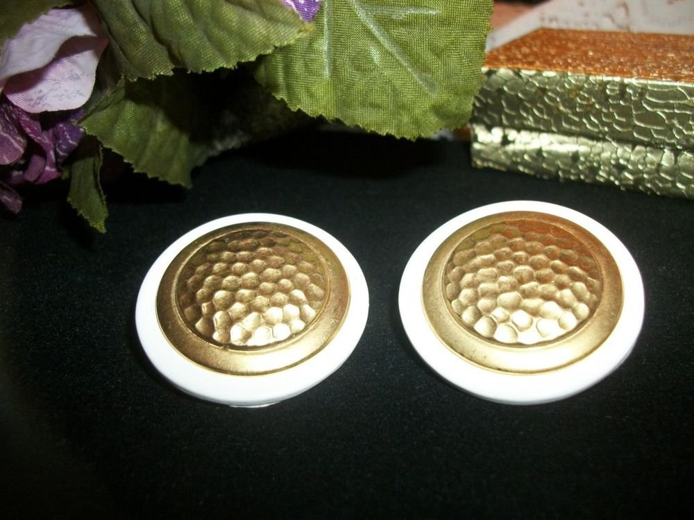 White and Gold Earrings Golf Ball Textured Metal Big Round Vintage Jewelry