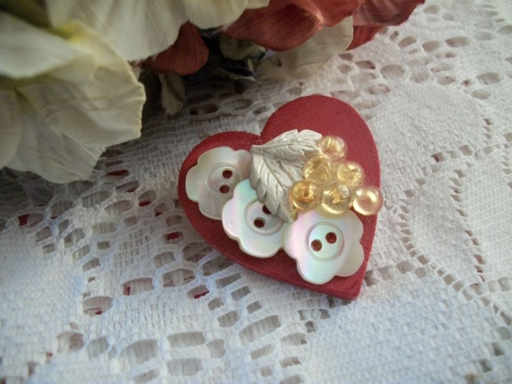 Red Heart Pin VTG Valentine's Day Brooch Handcrafted Embellished Wood Jewelry