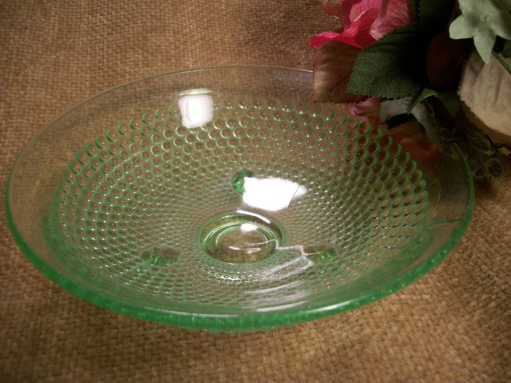 Green Depression Glass Hob Nail Footed Candy Bowl Vintage 1950's Serving Dish