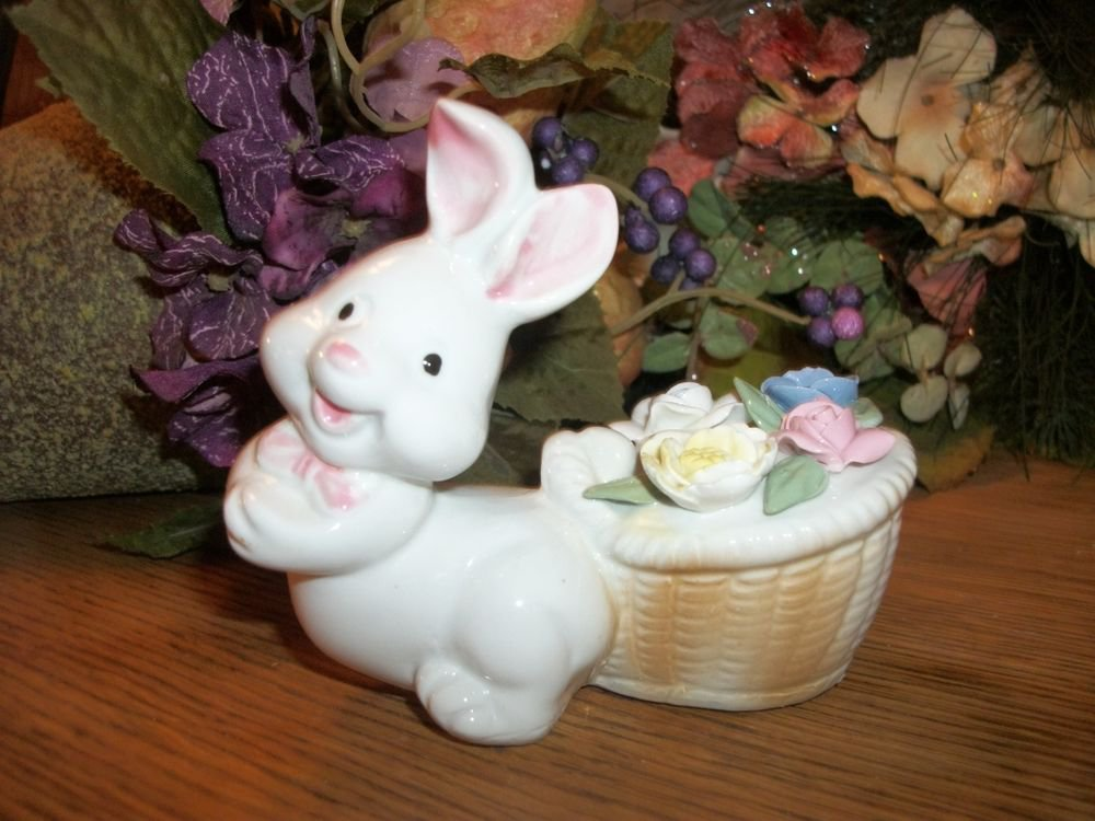 White Bunny Rabbit Figurine Porcelain Spring Flower Basket Vintage Home Decor