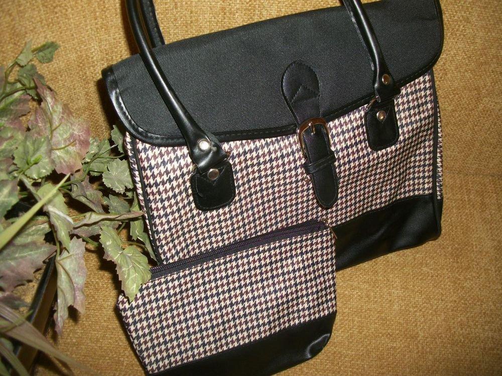 Classic Preppy Houndstooth Plaid Handbag Black Faux Leather Envelope Purse