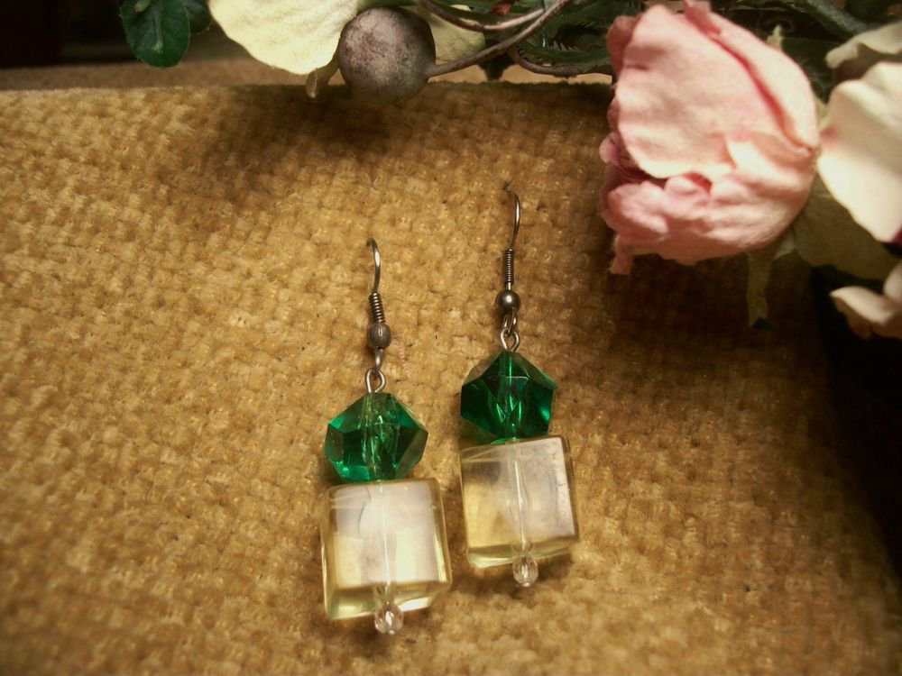 Dangle Earrings Green and Yellow Faceted Lucite Beads Elegant Vintage Jewelry