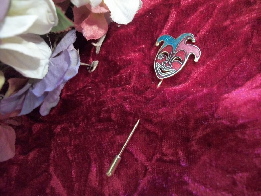 Mardi Gras Stick Pin Cloisonne Enamel Clown Jester Harlequin VTG Fashion Jewelry